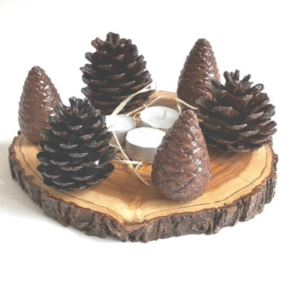 Wooden & Pinecone Candle Holder