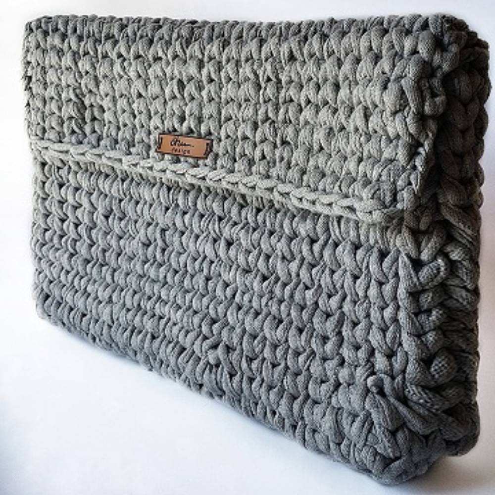 Grey Knitting Clutch