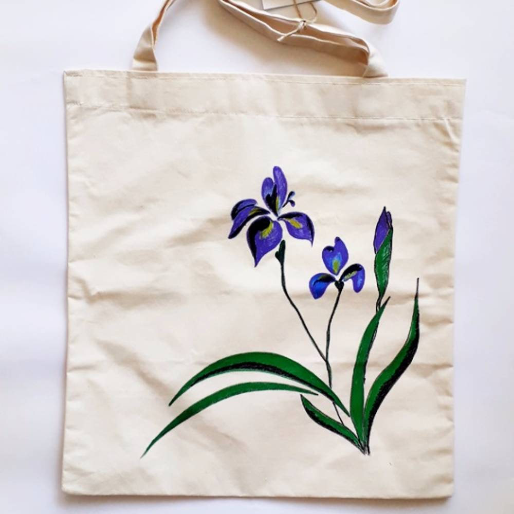 Handpainted Shoulder Bag Purple Flowers