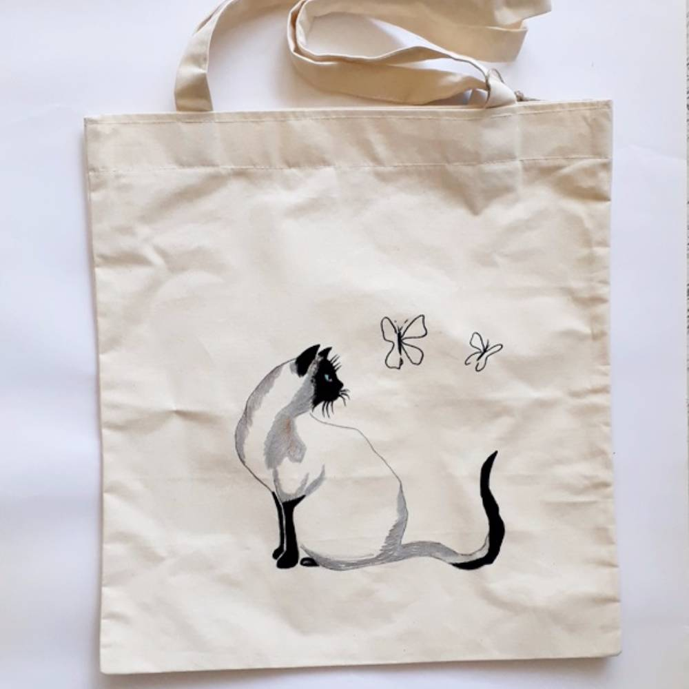 Handpainted Shoulder Bag Cat&Butterfly